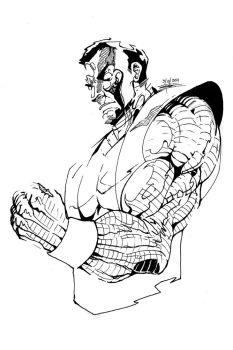 Inktober 2: Marvel's Colossus by FrostLlamzon