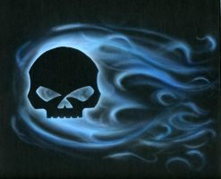 Blue Skull Flames by blackghostdog
