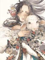 Girl with Little Sheep by laziesheaven