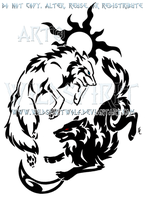 Tribal Hati + Skoll Yin Yang Design by WildSpiritWolf