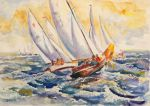 Fight At The Mark - Folkboats Tacking by BarbaraPommerenke