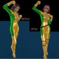 Before and After:  Rogue by Angelic-Kitten-Art