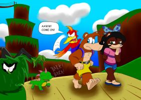 Banjo and Kazooie with Grace and Abbi by gizmo01