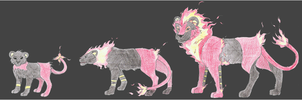 Fire Luxray Evolution line by CCDragon-93