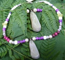 Pink Botswana Agate Necklace by SacredJourneyDesigns