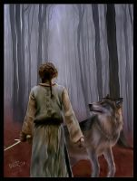 Arya and her direwolf by DaaRia