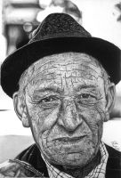 Old man pencil drawing by Hannaasfour