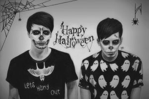 Dan and Phil 'Halloween' by DraconaMalfoy