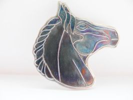 Silver patinated horse head pendant by irineja
