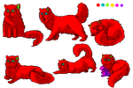 Persian Cat Pose Set Tri Colour by xArcox