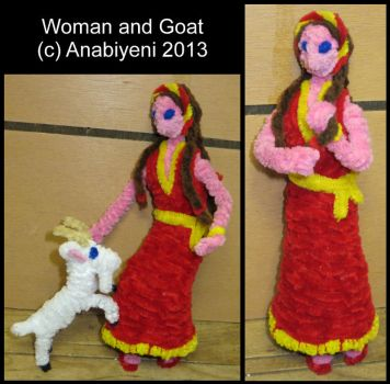 Pipe Cleaner Woman and Goat by Anabiyeni