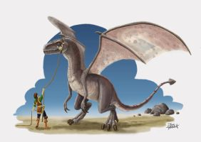 Soldier with Raptor Dragon 2 by JonHrubesch