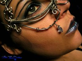 Masquerade Mask - Wire Wrapped Dragon Eye - Detail by LadyPirotessa