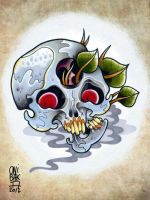 triclop skull tattoo flash by OniBaka