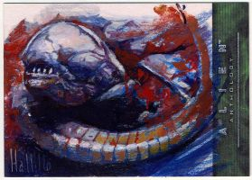 alien anthology oil sketch card 9 by charles-hall
