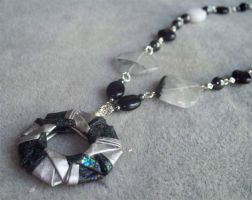 Silver and Black Necklace by tiranaki