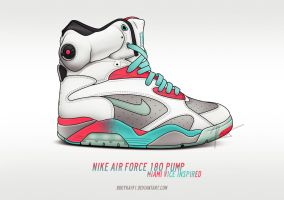 Nike Air Force 180 Pump 'Miami Vice' by BBoyKai91