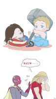 Steve and Bucky babies: The Mjolnir by SilasSamle