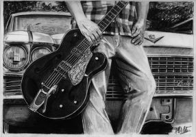 A blues man and his Cadillac by alainmi