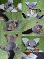 Commission: Gray Fox Plushie by CoffeeCupPup