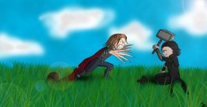 Loki and Thor cracking Nuts by Tshuuls