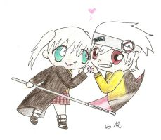 Soul and Maka chibis by marii-vamp