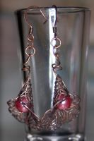 Rosey Blossom Steampunk Earrings by LadySashaviv