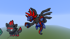 minecraft pixel art zorua and hydriegon by justinw1996