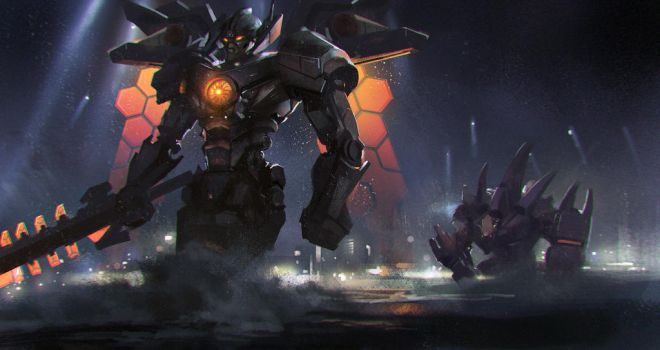 Mecha Aatrox and Mecha Malphite by zippo514