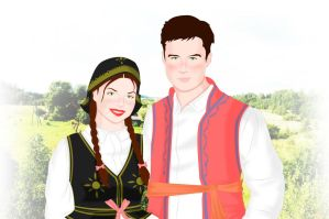 Traditional Polish Couple by ArsalanKhanArtist
