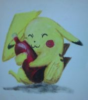 Pikachu With Ketchup oil painting by QuixoticouS