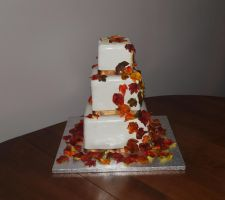 Fall Leaves Wedding Cake by reenaj