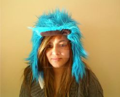 Blue Furry Bomber Hat by Brutemusandfriends