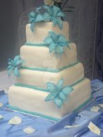 Teal Lily Wedding Cake by simplysweets