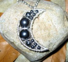 Hematite Moon Necklace by MoonLitCreations