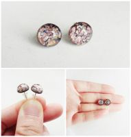 Amethyst Opal Glass Cabochon Silver Stud Earrings by crystaland