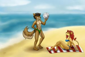 Eddie and Lucy at the Beach by Silly-Lady