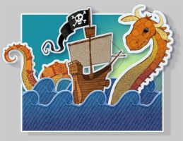 Sea Monster and Pirates by DarionLeigh
