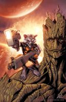 Rocket Raccoon and Groot by RyanLord