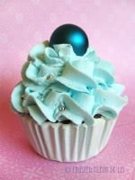 Small Blue Cupcake by FrostedFleurdeLis