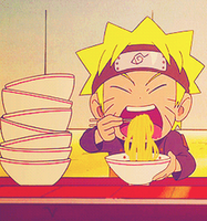 Cute chibi Naruto eating ramen GIF by AnniiSkittles