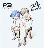 Persona 3 and 4 in colour by tarmie