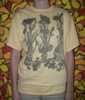 Woods on Yellow Organic Cotton by FrenchHumorist