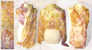 Silk scarf - Mucha Rose - for sale by MinkuLul