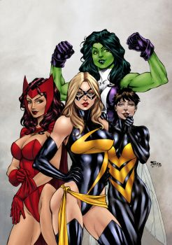 Avengers girls by Benes and Texas0418 (COLORS) by carol-colors