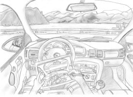 Me drawing inside my car while....... by RittiFruity