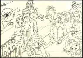 Get -together - Lineart (One Piece) by BelleLoveZoro