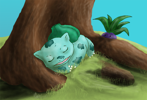 Sleeping Bulbasaur by Arbre