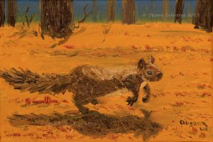 Squirrel Jumping - oil by Oksana007