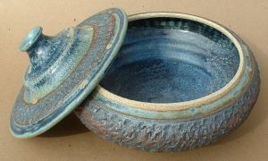 Bowl Covered Blue Iron Open by J-Knez